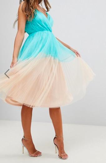 robe plissée Color block