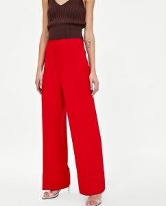 Pantalon large rouge zara