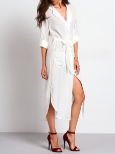 Robe chemise blanche shein