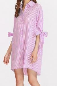 Robe chemise rayures rose et blanc Shein