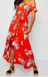 Robe maxi à fleurs épaules dénudées