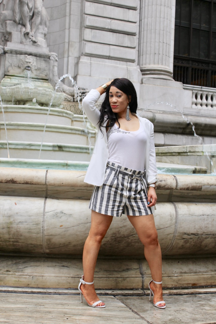 look short rayures et blazerblanc blog