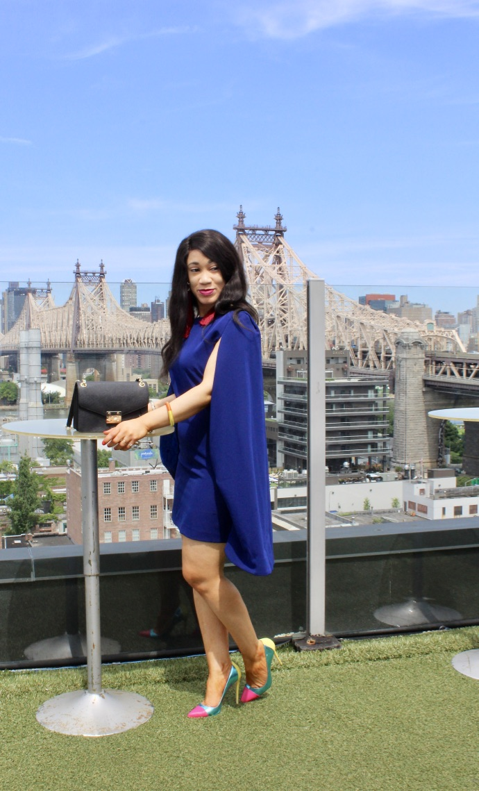 shooting look robe cape bleue blog