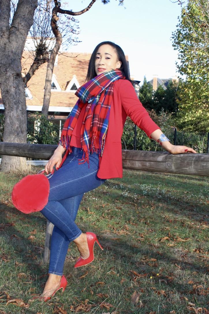 look écharpe imprimé écossais blog