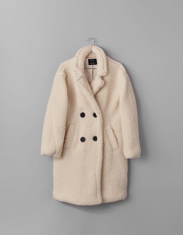 manteau écru effet mouton Bershka
