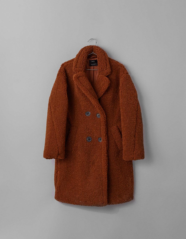 manteau effet mouton Bershka