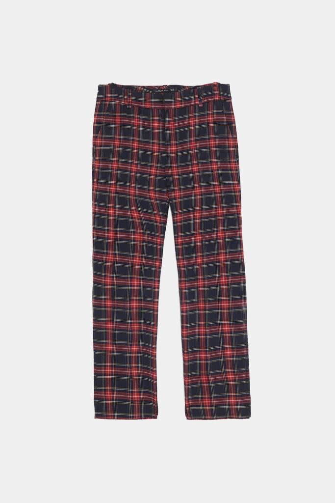 pantalon imprimé écossais Zara