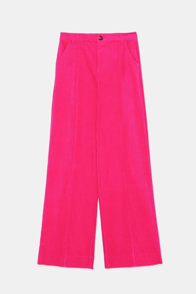 pantalon rose velours côtelé Zara