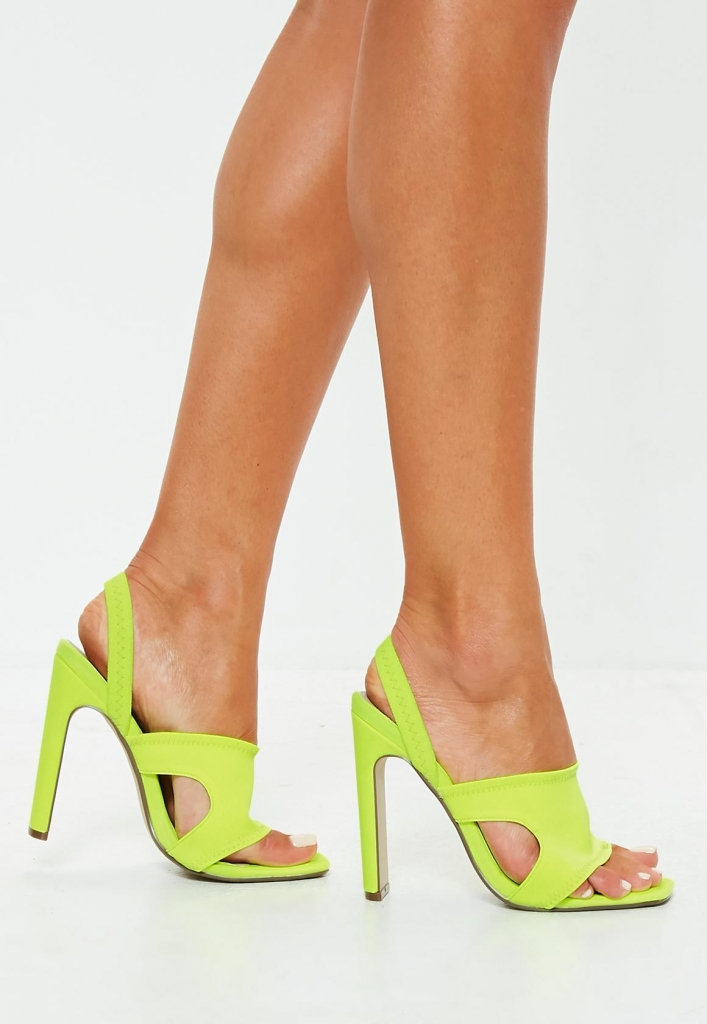 sandales talons sporty jaune fluo