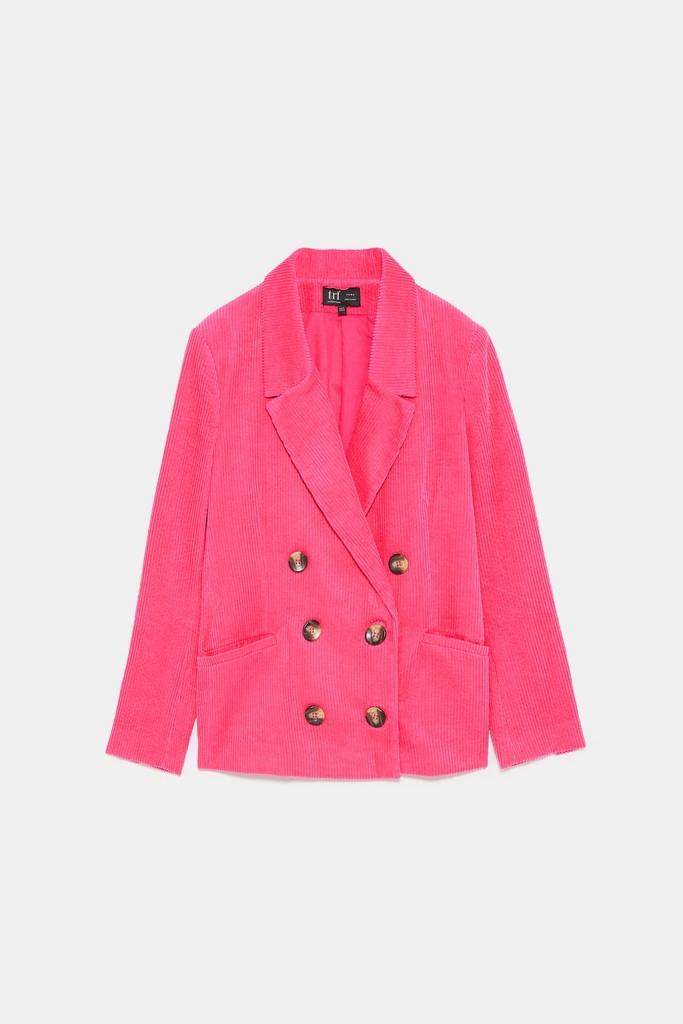 Veste rose velours côtelé Zara