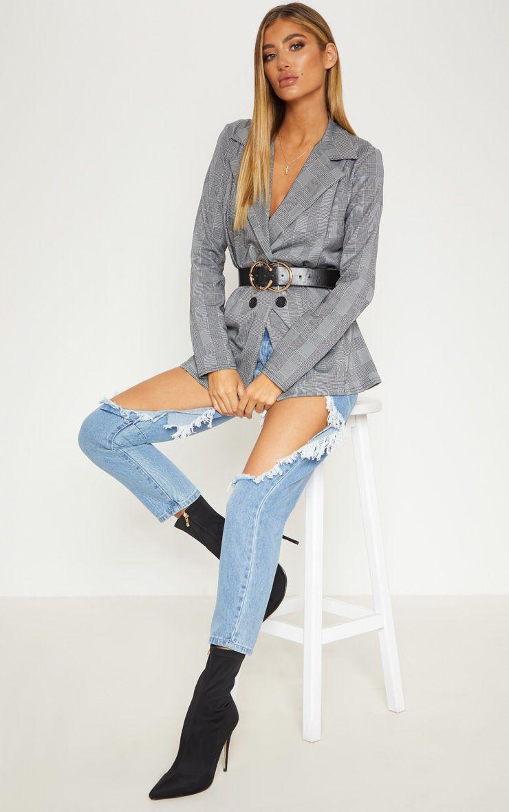 blazer gris à carreaux prettylittlething