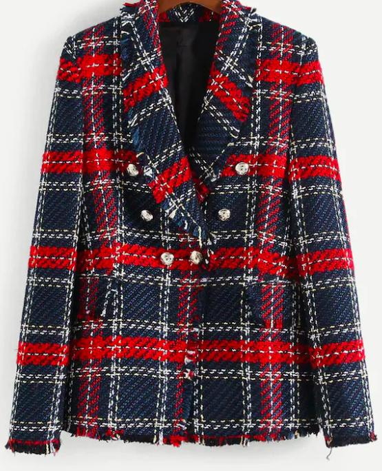 blazer en tweed à carreaux