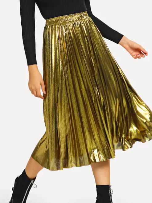 jupe plissée métallique