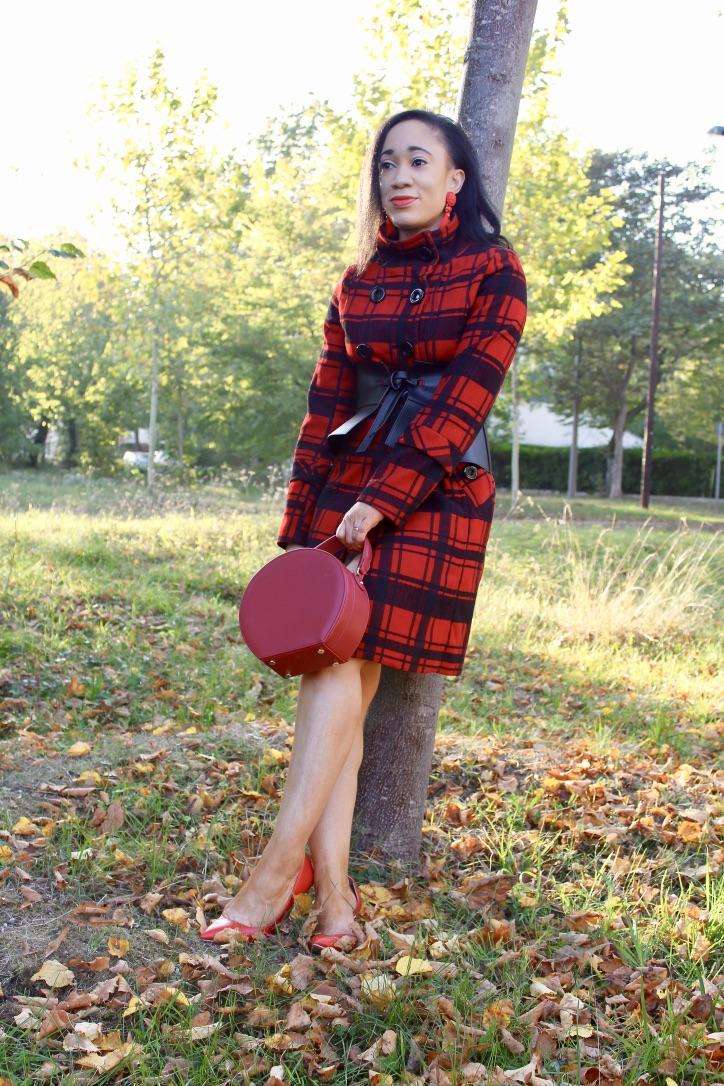 look automne manteau à carreaux
