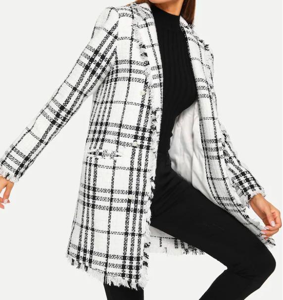 manteau en tweed blanc