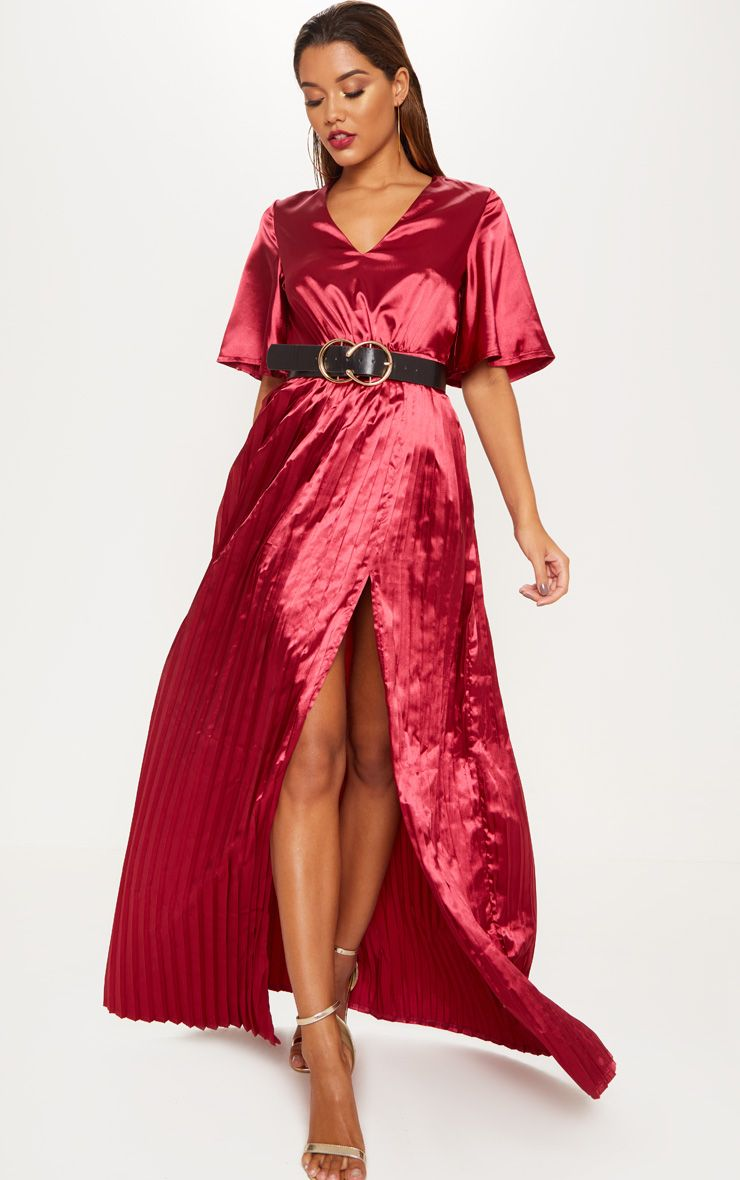 robe longue satiné prettylittlething