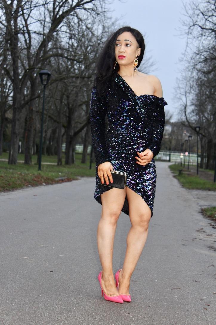 robe à sequins bleu
