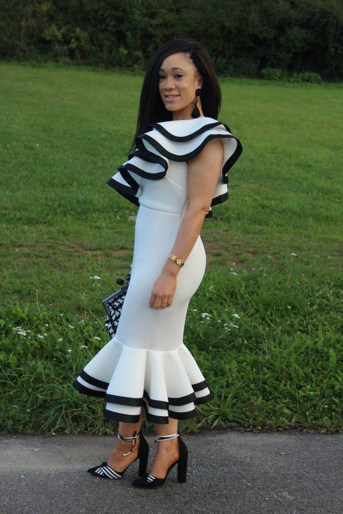 robe mi-longue noir et blanc