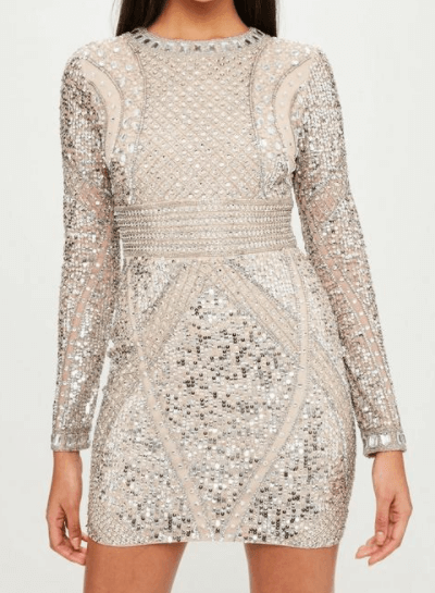 Robe courte nude ornements missguided