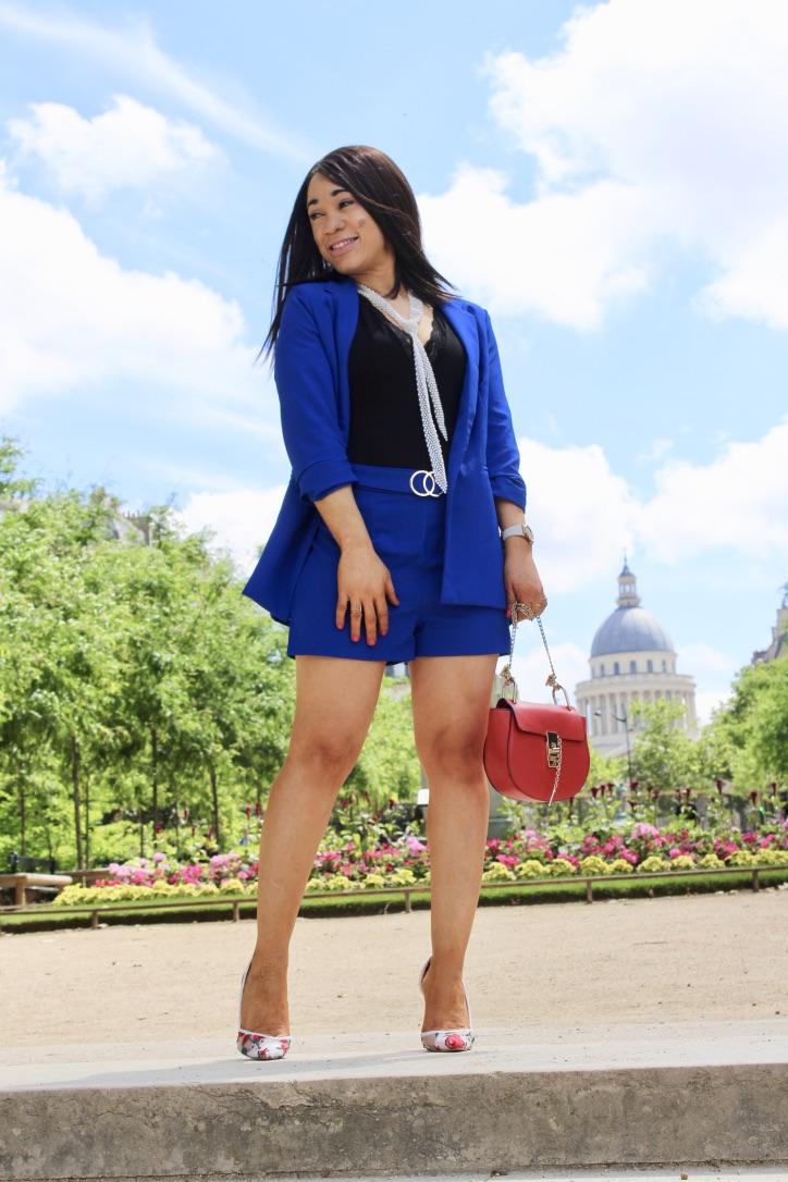 ensemble tailleur short bleu