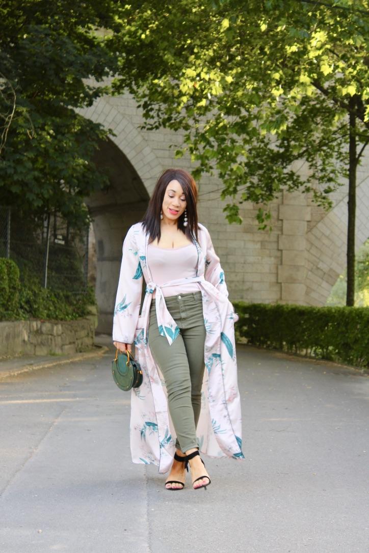 kimono rose satiné