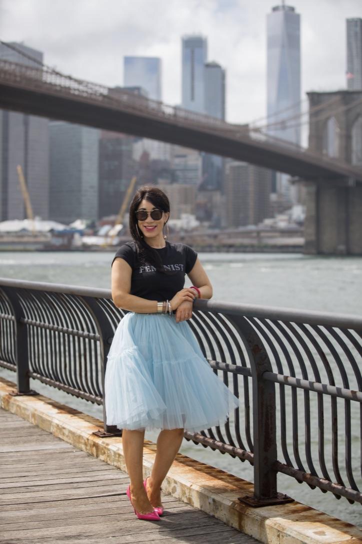 look jupe tulle bleu