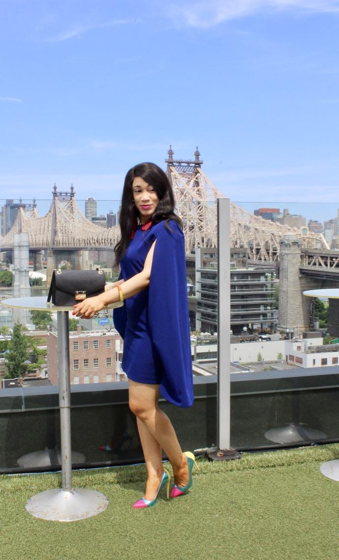 shooting look robe cape bleue blog