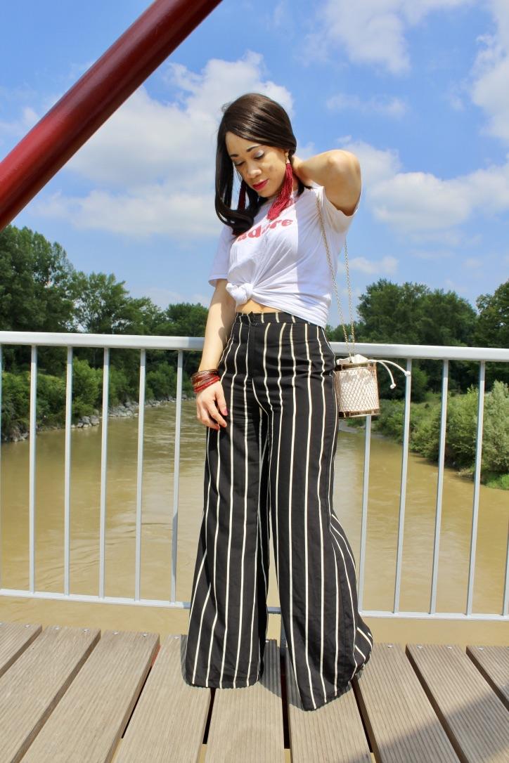 pantalon rayures noir et blanc
