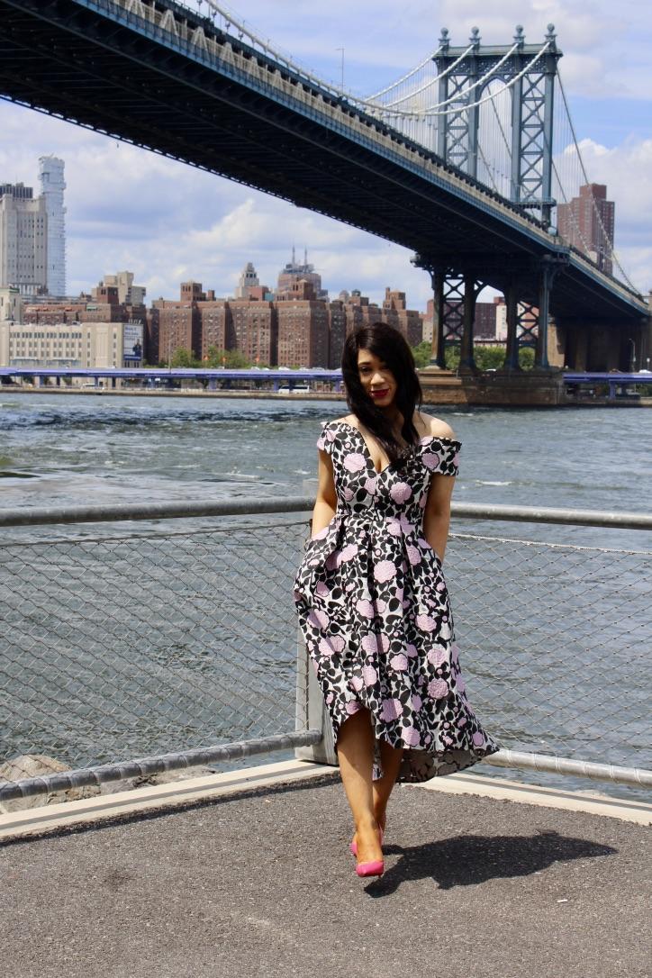 robe mi-longue style bardot ourlet plongeant