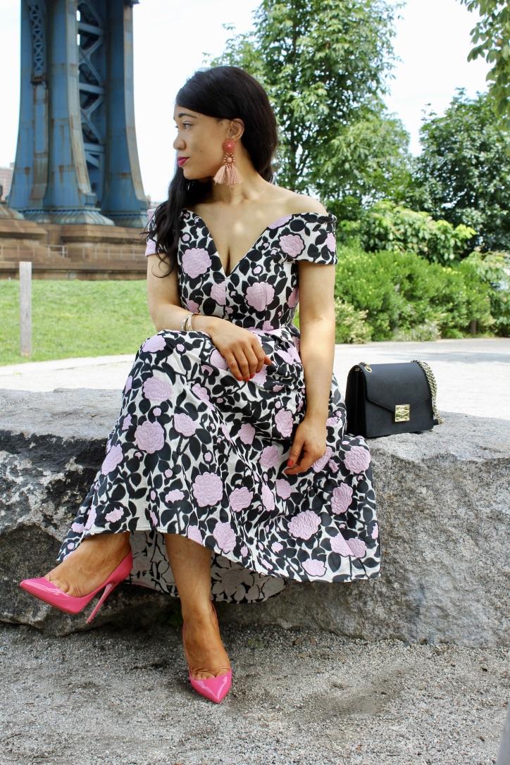 robe style bardot escarpins rose
