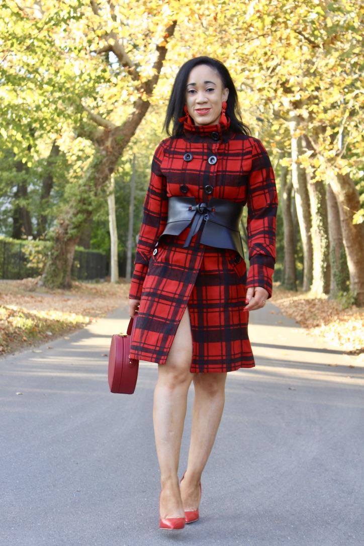 look manteau motif carreaux