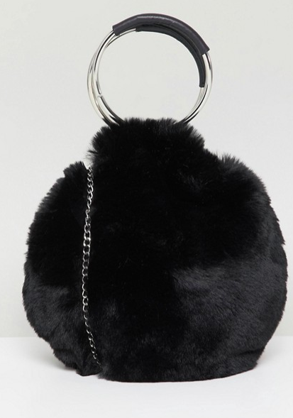 sac rond fausse fourrure new look