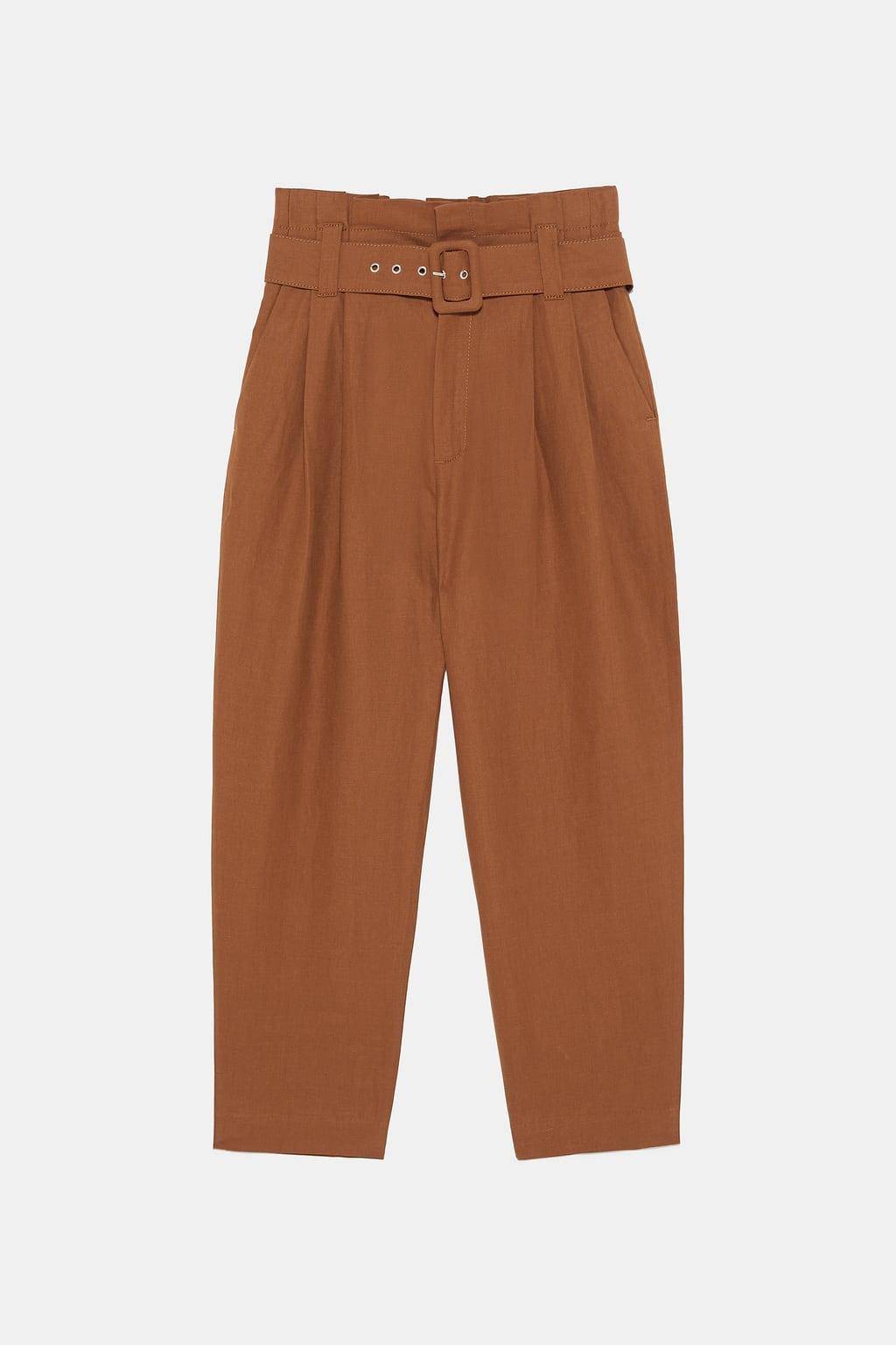 pantalon marron zara
